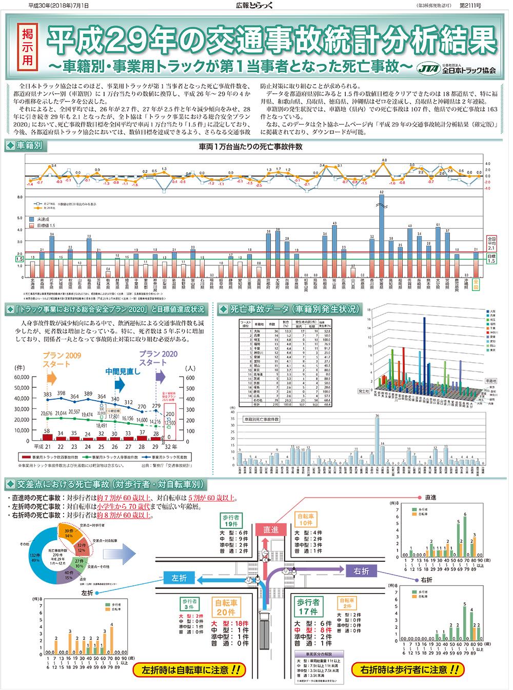 平成29年中交通事故統計分析結果〔車籍別:掲出用ポスター〕