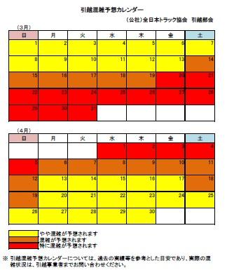 引越混雑予想カレンダー